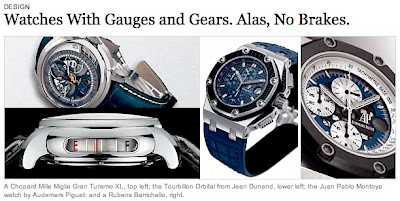 New York Times Spotlights Automotive Trends & Wristwatches