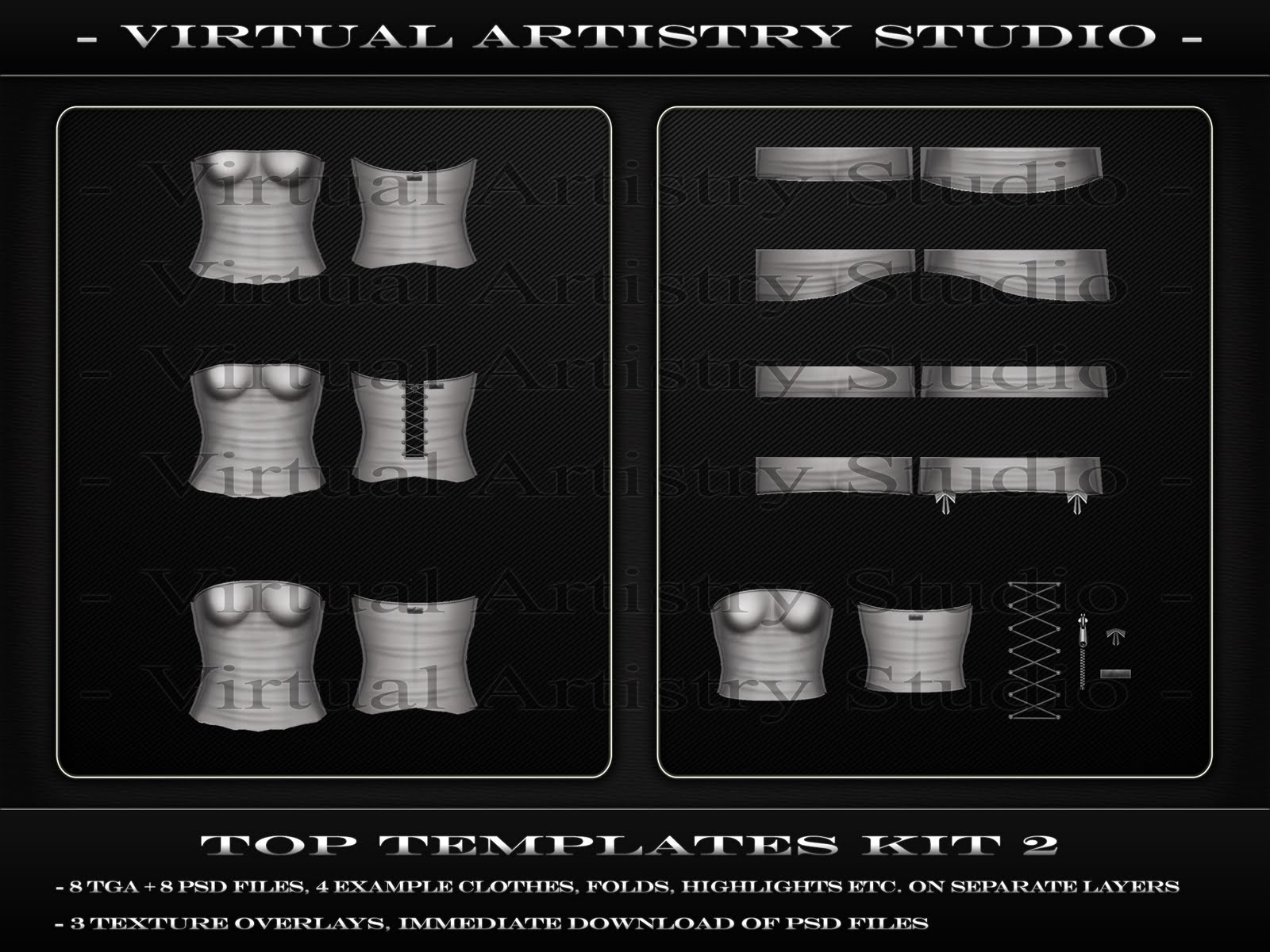 Virtual artistry studio top templates kit 1 psd tga for Second life templates for gimp