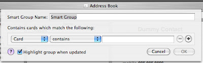 The New Smart Group dialogue in Address Book 4.0.5
