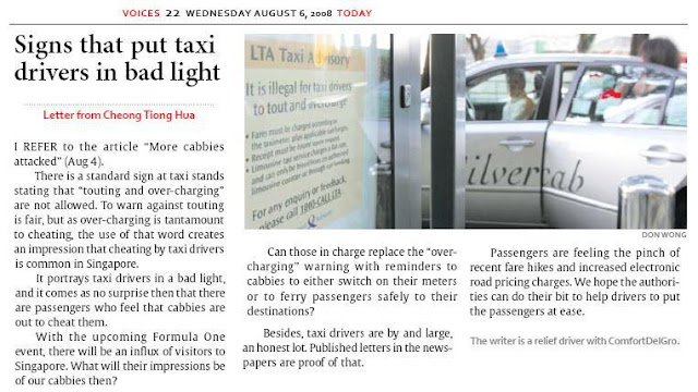 Singapore Cabbies: Signs that put taxi drivers in bad light