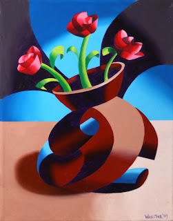 Futurist Dancing Abstract Flower Pot - Step One - Daily Painting Blog Original Oil and Acrylic by Artist Mark Webster