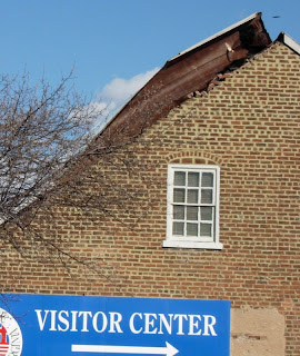 Roof damage to Cafe New Orleans in Fredericksburg, Virginia