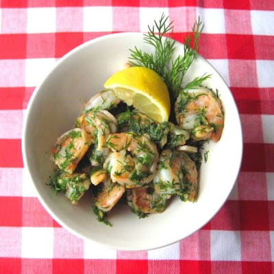 shrimp with dill-butter-lemon sauce