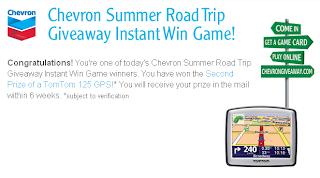 Chevron Instant Win Game Winner