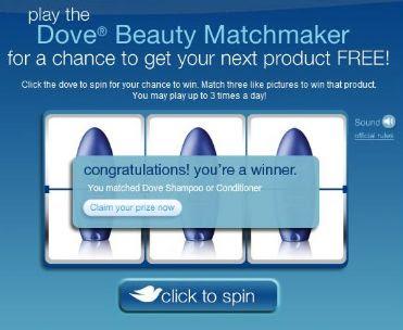 Dove Dimensions Beauty Matchmaker Instant Win Game Winning Screenshot