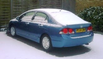 Honda Civic Hybrid in the snow