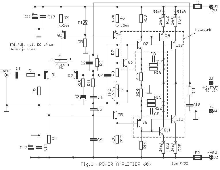 simple 60 watt power amplifier