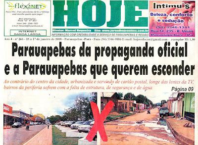 Resultado de imagem para jornal hoje de parauapebas