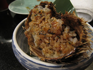 Uni Sushi Rice cooked inside a sea urchin shell