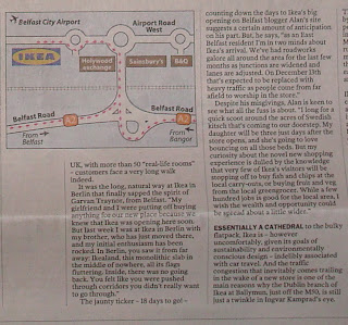 Alan in Belfast features in Irish Times' article on Ikea Belfast