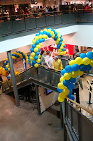 Arches of balloons welcome visitors to Ikea Belfast on its opening day