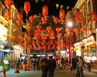 New Year Decorations in London's Chinatown
