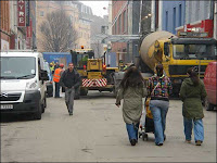 (c) BBC - image of construction traffic parked on pedestrianised Ann Street
