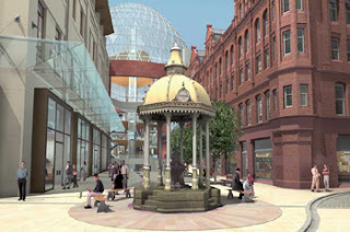 Mock-up of  Jaffe fountain back in place in Victoria Square