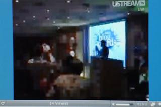 Still image from Ustream feed from 2008 Irish Blog Awards