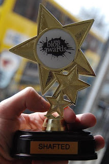 Jett Loe's Shafted trophy from the 2008 Irish Blog Awards - photo by goodonpaper  / Andy McMillan via Flickr