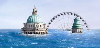 (c) 2008 BBC - Blueprint - Belfast city centre (City Hall and Big Rickety Wheel) suffering from a high water table