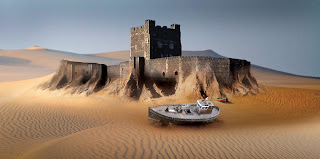 (c) 2008 BBC - Blueprint - Carrickfergus Castle and harbour in a dessert?
