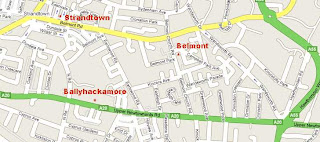 Quick (corrected) map of East Belfast post offices between Upper Newtownards Road and Belmont Road
