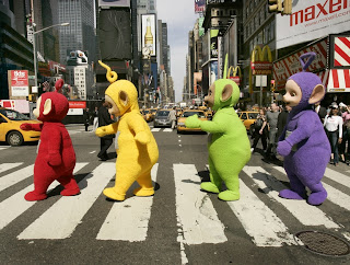 Picture (c) 2007 BBC of the Teletubbies crossing the road in New York