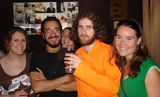 Jesus (Abie) relaxing with some followers/friends in the bar after the opening night of his London run