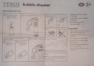 Instructions for dud Tesco bubble blower