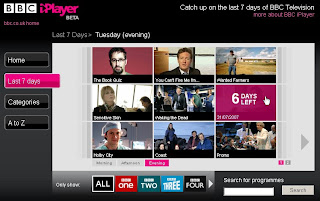 BBC iPlayer Beta schedule browser
