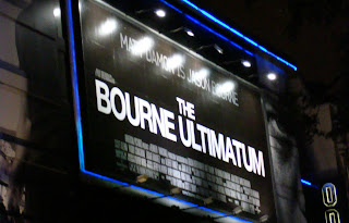 Photo of Bourne Ultimatum poster high above entrance to Odeon London Leicester Square cinema
