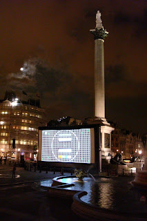 Inflatible screen in front of Nelson's Column