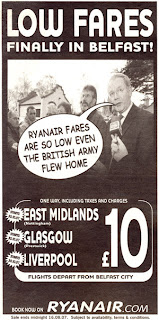 Ryanair advert - with Martin McGuinness and a speech bubble suggesting Ryanair fares are so low even the British Army flew home - via http://larryni.me.org