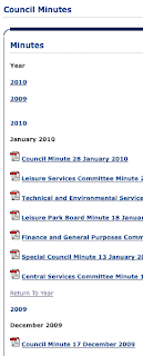 clip from Castlereagh Council website - the page of minutes - click for larger image