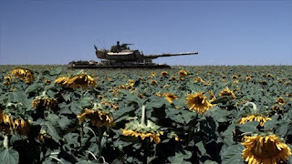 Still image of a tank in a field from the film Lebanon (2009)