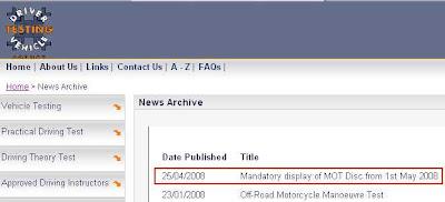 DVTA news release re mandatory display of MOT certificate discs