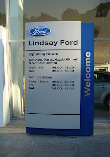 Lindsay Ford dealer - locked up at 7.45pm - before the advertised 8pm