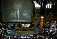 Photo of Gordon Brown speaking at the 2008 Church of Scotland General Assembly in Edinburgh - from Press TV