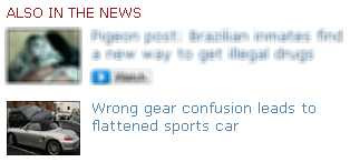 snippet from this morning's BBC News home page