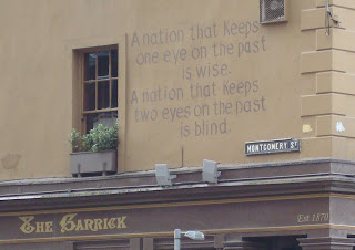 Words painted on the wall above the Garrick Bar