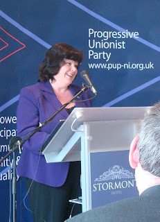Dawn Purvis giving party leader's address at PUP conference