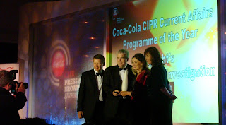 Darragh McIntyre and BBC NI Spotlight team accepting award at CIPR Press and Broadcast awards 2010