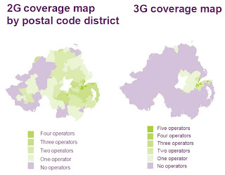 Chart comparing 2G and 3G mobile coverage in Northern Ireland (showing 90% coverage in postal districts)