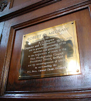 Memorial plaque to R.A. Megraw - organist
