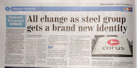Article about Corus Steel becoming Tata Steel in Belfast Telegraph