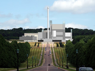 Image (c) Michael High, accurately superimposing the planned RoseEnergy incinerator over Parliament Buildings at Stormont