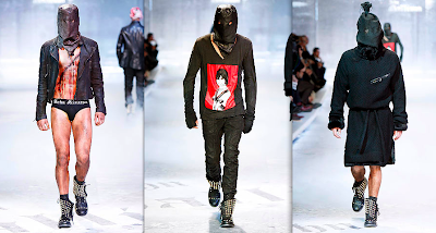 John Galliano's 2008 menswear collection suggest6s shades of Abu Grahb.  [Source: Stylophile]
