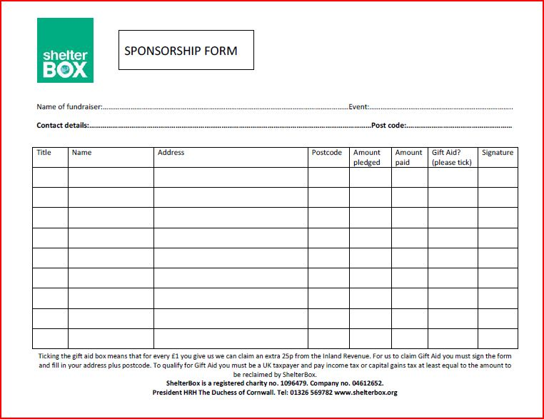 Doc725946 Sponsor Sheets Templates Sponsorship Form Template – Sponser Sheet