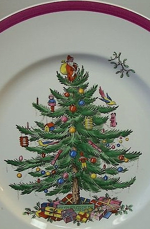 Christmas Tree pattern with crimson band, late 1930s - Spode History: Spode's Christmas Tree Pattern
