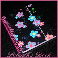 A floral notebook with the caption: Polenth's Book