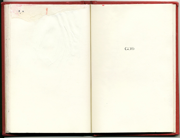 GOD, And Other Observations, 2007. pen, acrylic & collage on altered book.