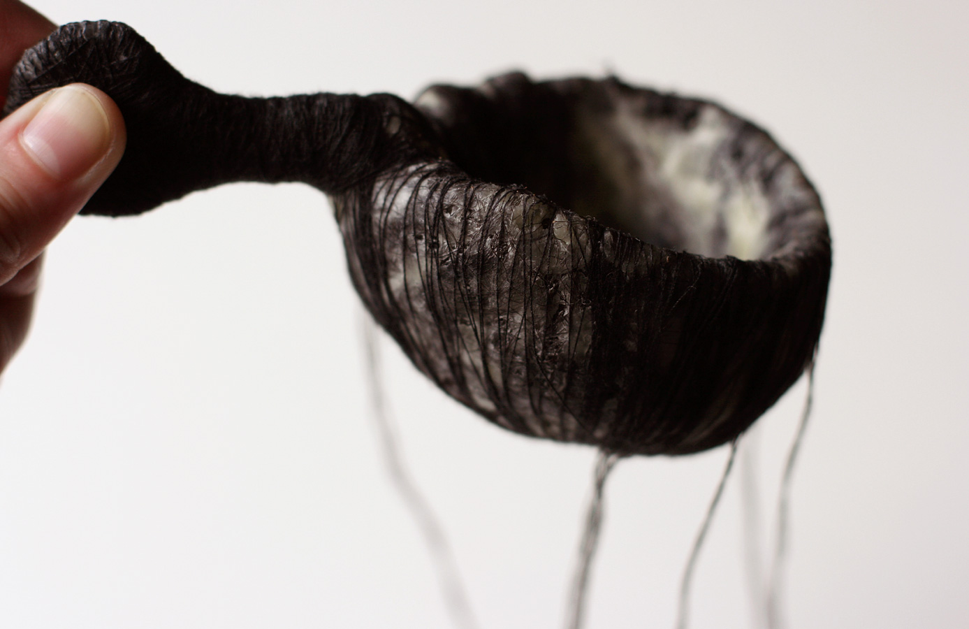 The Black Spoon, 2008. thread, hair, wax, paper & wire.