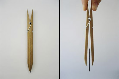 Creative pencil by Yuta Watanabe uses modified clothes peg to hold the lead  in place.